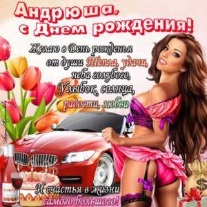 С днем рождения Андрюша интернет открытка. На телефон, автомобиль, девушка в купальнике, надпись пожелание, стих на картинке.